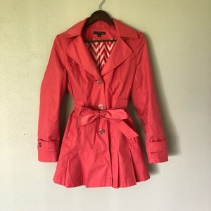Via Spiga Pleated Trench Coat Coral Pink